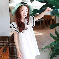 Zomer strand peuter tieners jurk voor meisjes ruches korte mouwen witte prinses meisje kinderen lente, # 2648 210522