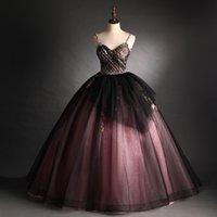 lusso 100% reale nero velo rosa fiore ricamo perline bordatura rococò lunghe corte medievale rinascimentale Victoria vestito a ballo abito / evento