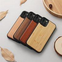 Real Wood деревянные вишни бамбук Palisander ореховые чехлы для iPhone 12 Pro 12Pro Max 12min твердый пластиковый мягкий мягкий ТПУ мода роскошный вертикальный смартфон задняя крышка кожи