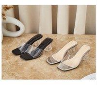 2021 new girls fashion PVC short heels sandals office lady casual summer holiday beach soft heels shoe lady slides