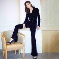 Деловые женщины 2 шт. Брюки набор осень зима двубортный синий бархат Blizers + офисные дамы карандашные брюки костюм 210519