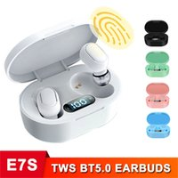 E7S TWS Black Ear Bud True Wireless Bluetooth Earphones,Touch Control Water proof Stereo in-Ear Headphones with charge case Built-in Mic for Phone Headset