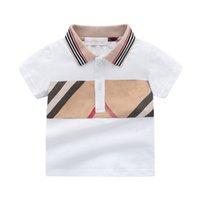 Nouveau Style d'été Style Enfants Vêtements Enfants Garçon Girls Coton Plaid T-shirt à manches courtes à manches courtes 1-5 ans