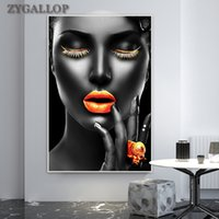 Black Woman Golden Lips Canvas Painting On the Wall Noble Women Picture Prints Canvas Poster Modern Art Pictures for Home Design