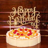 Sheer Vorhänge Kristall Vier Strassfarbe Glänzend Happy Jubiläum Kinder Geburtstag Party Decor Cake Topper