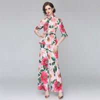 Banulina 2021 Runway Summer 2 peças Set Ruffles 3/4 Luva Rosa Floral Impressão Blusa Tops e Pé largo Long Pant Suit N58272 Mulheres Duas Calças