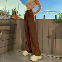Women's Pants & Capris Stylish Retro Casual Suit Adults Women Loose Solid Color Straight-leg Brown Trousers Daily Wild Streetwear Bottoms