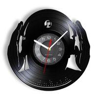 Wall Clocks DJ Club Party Mix Dance Music Beat Headphone Record Clock For LED Night Lighting Decorative Hanging Watch