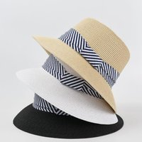 Wide Brim Hats Western Fashion Beach Accessories White Summer For Women 2021 Sun Visor Uv Straw Stripe Bucket Hat Vintage Vacation Caps