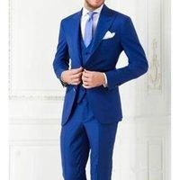 Kostüm Homme Terno Party Royal Herren Anzüge Smoking Groomsman Tux Custom Made Wedding Slim Fit Mode Anzug (Jacke + Pants + Weste) Herren Blazer