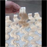 """Extensions Produits Drop Livraison 2021 Lummy Indian Remy 16 """"18"""" 20 """"22"""" 24 """"100g 40g 40pcs # 613 Ruban à onde corporelle dans la peau de colle Skin Hair Extension des cheveux"""