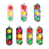 Squeeze Fidget Sensory Simple Dimple Toy Pops Bubble Mini Traffic Lights Toys Pressure Reliever Board Controller Educational Toy GWF6725