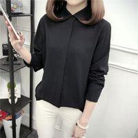 بالإضافة إلى حجم كامل الأكمام قميص المرأة قمم الربيع الشيفون المرأة القمصان الأبيض الأزرق الأسود G850 المرأة البلوزات