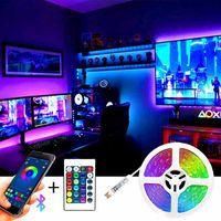 Strips Bluetooth SMD LED Strip Light Flexible Lamp 1M 2M 3M 4M 5M Tape Diode DC5V Desk Screen TV Background Room Lighting USB Cable