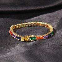 Hip Hop Bracelet Copper Inlaid Colored Square Zircon Hipster Bracelet Tennis Chain