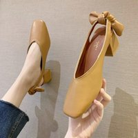 Dress Shoes High Heels 2021 Spring And Summer Shallow Mouth Bow Middle Heel Elegant A2-21