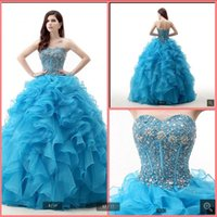 2021 robe de soiree blue organza ball gown prom dresses strapless sweetheart neck beaded ruffles princess party gowns sweet 16 crystals luxury quinceanera dress