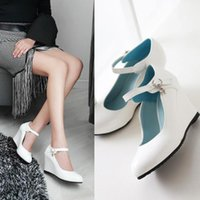 Dress Shoes Women Sequined Wedges Pumps Fashion Buckle White High Heels Sexy Pointed Toe Spring Summer Party Woman Black Pink