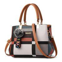 Valenkuci повседневная клетчатая сумка на плечо мода сшивание дикого посылки бренд женские сумки скрещенные сумки женщин кожаная сумка