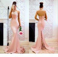 Sirena Vestidos de noche formales Jewel Halter Cuello Cuello de respaldo Appliques de encaje Partido Vestidos de baile Vestidos de Noche