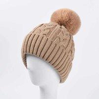 Faux Fur Pompom Winter Hat Women Knitted Thick Beanie Hats for Ladies Warm Skullcap Beanies Girls Designer Bonnet Gorro 210531