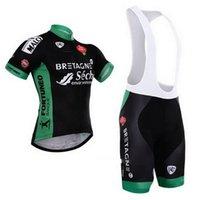 2015 bretagne-seche فريق قصيرة الأكمام الدراجات جيرسي الصيف ارتداء روبا ciclismo + مريلة السراويل 20d هلام الوسادة مجموعة الحجم: XS-4XL