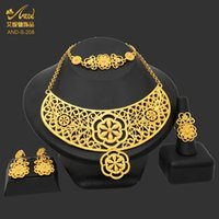 Earrings & Necklace African Jewelry Set Nigerian Wedding Costume 24K Gold Plated Bracelet Ring Bridal Dubai Jewellery Ornament