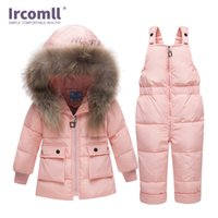 Ircomll روسيا الشتاء ملابس الأطفال مجموعات بنين بنات بدلة أطفال الثلوج ارتداء جاكيتات سترة بيضاء بطة أسفل معطف + وزرة 211021