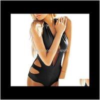 Trajes de dos piezas Mujeres de una pieza de una pieza de traje de baño con cuello en V profundo Sexy Bikini Hollok Monokini Swimwear Weave Weave Water Sport Bodyless Bodyless LAD V5CXF