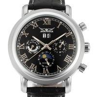 Jaragar Hombres Relojes Mecánica Automático Roma Roma Exhibición Deporte Reloj Casual Cuero Muñeca Muñeca Negro Relojes Hombre Relojes de pulsera