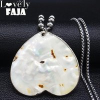 Pendant Necklaces 2021 Fashion Heart Big Stainless Steel Shell Women Yellow Color & Pendants Jewelry Collar Mujer N19217