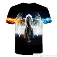 큰 야드 새로운 패션 브랜드 티셔츠 남성 / 여성 숙녀 여름 3D Tshirt 인쇄 천사 T 셔츠 Teessoccer Jersey