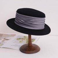 Stingy Brim Hats Retro Wool Fedora Hat Black Felt Wide Flat Floppy Winter For Women Party Brown Cap Ladies Fedoras