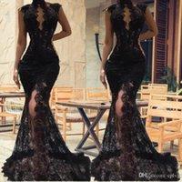 2022 Sexy Black Bez Rękawów Mermaid Prom Dresses Split Wysokiej Neck Suknie Wieczorowe Patrz Full Lace Celebrity Party Dress