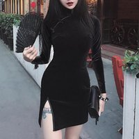 Casual Dresses Cheongsam Retro Long Sleeve Dress Female Dark Black Sexy Split Mini Women Girls Punk Gothic Vintage Autumn Winter