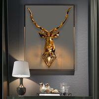 Nordic Lucky Antler Wall Lamp Creative Deer Bedroom Kitchen Home Background Decoration