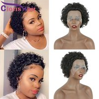 Pixie Cut Curly Short Lace Front Wigs For Black Women Colored 1B 27 30 Honey Blonde Ombre Brazilian Virgin Human Hair Closure Wig Natural Hairline