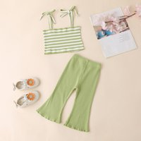 Clothing Sets 0-24 Months Baby Girl Clothes Set Summer Born Infant Vest Rainbow Striped Tops+Bell-Bottomed Pant