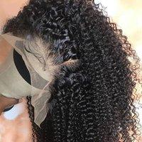Parrucche di capelli umani anteriori in pizzo Kinky ricci 28 30 pollici da lungo pollice precipitato frontale afro 4x4 chiusura