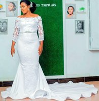 2021 Plus Size Arabic Aso Ebi Lace Beaded Mermaid Wedding Dress 3 4 Long Sleeves Hand Made Flowers Bridal Gowns Dresses ZJ332