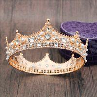 2020 Big Metal Gold Colors Crystal Pearls Crown da sposa Crown Royal Queen King Diadem Fashion Tiaras and Crowns Bridal Capelli Gioielli X0625