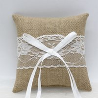 Burlap Wedding Ring Pillows 2021 Arrival Tan Rings Bearer Pillow for Weddings Anniversary with Bow 15cm*15cm Satin Lace Ribbon Custom Made