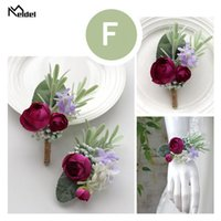 Meldel Artificial Rose Flower Groom Boutonniere Wedding Wrist Corsage Men Brooch Pins Girl Bracelet Buttonhole Decorative Flowers & Wreaths