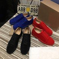 2021 Moda Kırmızı Alt Ayakkabı Çivili Spike Erkek Bayan Katı Renk Gerçek Deri Elk Cilt Eğitmenler Açık Parti Yaz Bahar Casual Sneakers 35-48 Kutusu Ile