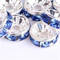 Coalt Blue 200pcs / lot argento placcato cristallo cristallo rotondo perline perline perline 6mm 8mm 10mm perline cristallo ceco 3 W2
