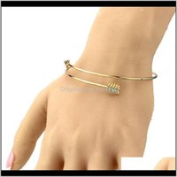Jewelryarrow Women Bracelets Open Adjustable Cuff Bangle Gold Sier Colors Alloy Metal Bangles Fashion Gifts Drop Delivery 2021 Qya2I