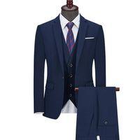 Men's Suits & Blazers Jacket Pants Vest 3 Pcs Set   Fashion Mens Casual Business Slim Fit Solid Color Wedding Suit Coat Trousers Waistcoat