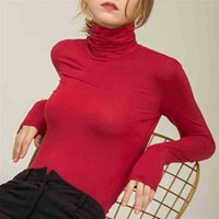 Chohill Fall Slim Fit Осенние повседневные модальные основы с длинным рукавом футболки женщины водолазки элегантные твердые цветные вершины для женщин плюс размер 210325