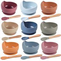 Baby Silicone Bowl FeedingTableware Spoon Vattentät Sug Barns porslinskiva Ställ köksredskap