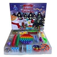파티 호의 24pcs 세트 크리스마스 Fidget 장난감 크리스마스 카운트 다운 캘린더 감각 팩 강림 캘린더 크리스마스 상자 CCA12675 바다로 보내기